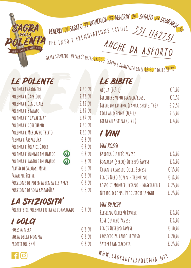 menu sagra della polenta 2018, adp, associazione amici del presepe, casalpusterlengo, lodi, lombardia, polenta di storo